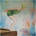 Dyka, oljemålning, Charlotte Wiktorsdotter