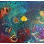 Abstrakt hund, oljemålning, Charlotte Wiktorsdotter
