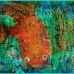 Guldfisk, oljemålning, Charlotte Wiktorsdotter